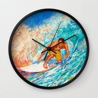 surfer Wall Clocks featuring Surfer by LiliyaChernaya