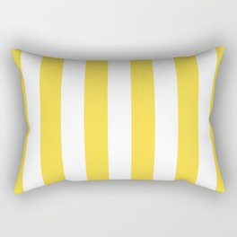 Lemon Yellow and White Wide Stripes Rectangular Pillow