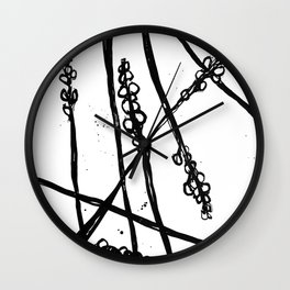 Nature illustration in black ink 2 Wall Clock