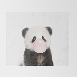 Bubble Gum Panda Bear Throw Blanket