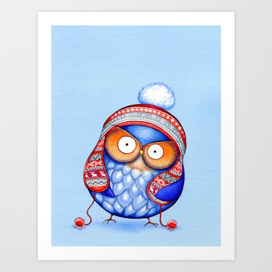 Winter Hat Owl Art Print