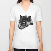 panther V-neck T-shirts featuring Panther by Mark Matlock