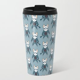 Frenchie the 13th waiting for you with an ax on Halloween Travel Mug