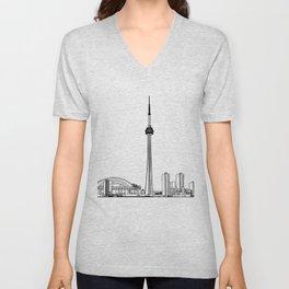 Toronto Skyline - Black on White Unisex V-Neck
