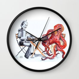 Robot Octopus Coffee Date Wall Clock