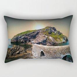Idyllic scene of San Juan de Gaztelugatxe landscape in Spanish coast. Rectangular Pillow