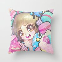 barachan Throw Pillows featuring makokashi by barachan