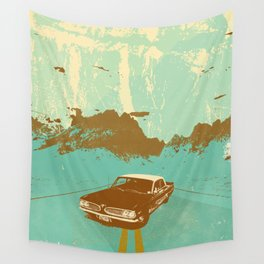LONE BLUE ROAD Wall Tapestry