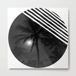 Moon behind the palm Metal Print