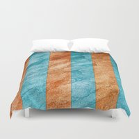 striped Duvet Covers featuring Striped Stone by Robin Curtiss