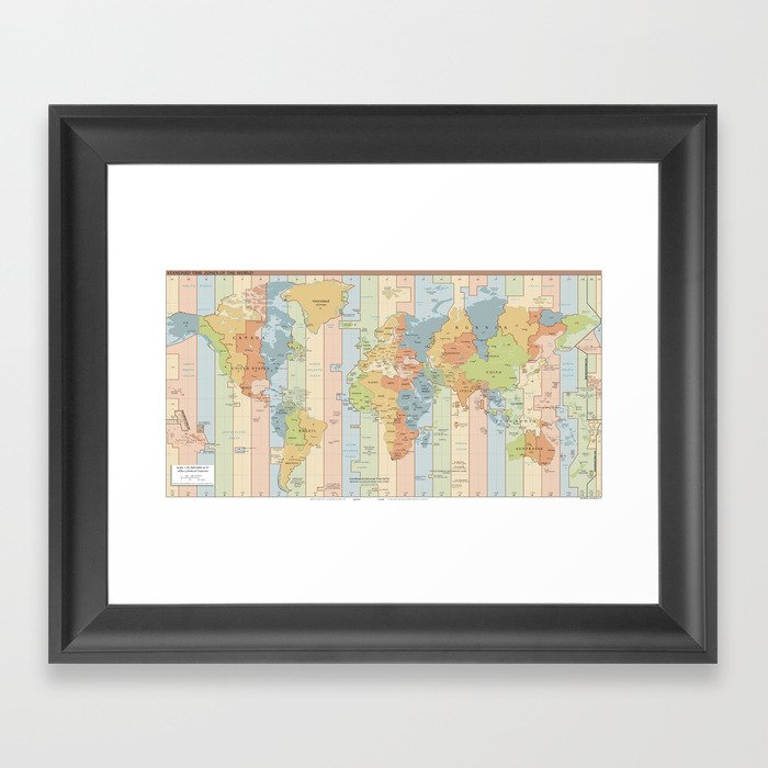 World Time Zone Map Framed Art Print by bravuramedia | Society6