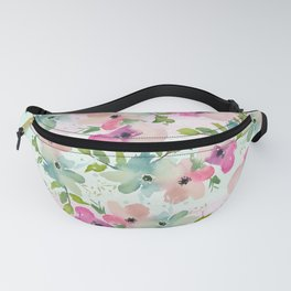 Modern teal pink watercolor hand painted floral Fanny Pack