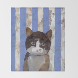 Missy or A Cat with Blue Stripes Throw Blanket