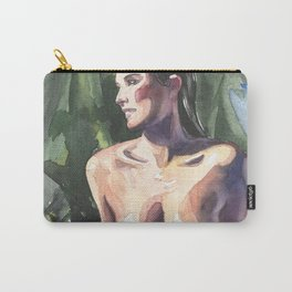 Original erotic watercolor painting NUDE GIRL POSING By the pool Carry-All Pouch