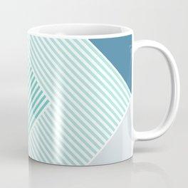 Teal Vibes - Geometric Triangle Stripes Coffee Mug