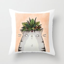 Cat in a Crown Throw Pillow