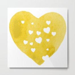 Yellow Hearts Metal Print