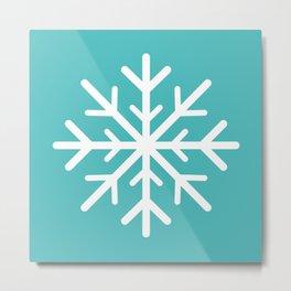 Snowflake (White & Teal) Metal Print