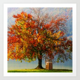 Tardis In The Lake Tree Art Print