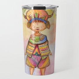 Tribal Kids Watercolor series #1: Rainforest Child Travel Mug
