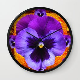 LARGE PURPLE-LILAC COLOR SPRING PANSY ON GOLD ART Wall Clock