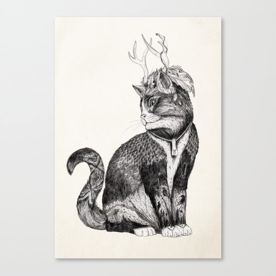 Wizard Cat | Graphite Canvas Print