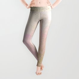 Pretty In Pink And Gold Delicate Abstract Painting Leggings