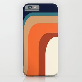Mid-Century Modern Meets 1970s Orange & Blue Rainbow iPhone Case