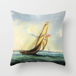 A Squadron Of The Fleet Bearing Down The Channel Off The South Coast Of England Towards An On-coming Throw Pillow