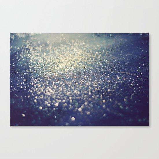 Glitter on Blue Canvas Print