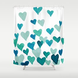 Valentine's Day Watercolor Hearts - turquoise Shower Curtain