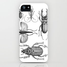 Vintage Beetle black and white drawing iPhone Case