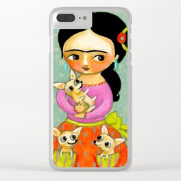 Frida with Three Chihuahuas cute painting by Tascha Clear iPhone Case
