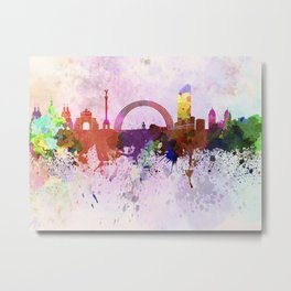 Kiev skyline in watercolor background Metal Print