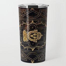 Leather and Gold Travel Mug