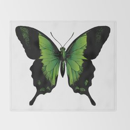 Green Butterfly Throw Blanket