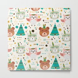 Boho Forest , Woodland Critters Metal Print
