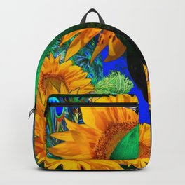 GREEN PEACOCK & GOLDEN SUNFLOWERS  GREEN MODERN ART Backpack