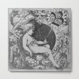 Cherub | Angels Vintage | Victorian | Sketch | Letter B Metal Print