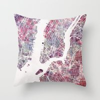 new york map Throw Pillows featuring New York map by MapMapMaps.Watercolors