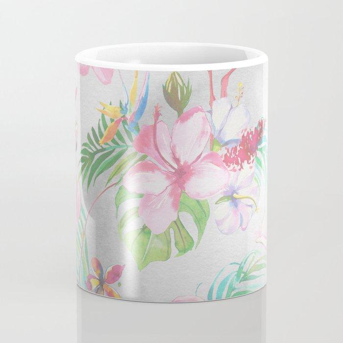 Pink lilac green watercolor hand painted tropical floral flamingos Coffee Mug
