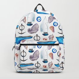 Modern hand painted pink blue watercolor nautical pattern Backpack