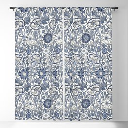 William Morris Navy Blue Botanical Pattern 6 Blackout Curtain