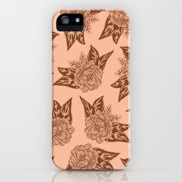 Cabbage Roses in Rust iPhone Case