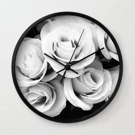Ivory and Ebony Elegant Bridal Rose Bouquet Wall Clock