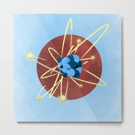 Cute Cartoon Carbon Atom of Science Metal Print