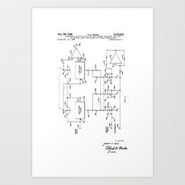 High & Low Pass Filters - Modular Synthesizer - Robert Moog Patent/Blueprint Artwork Art Print