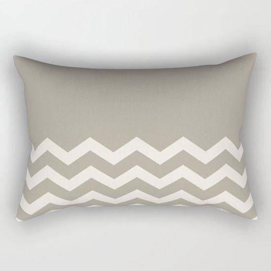 Chevron Colorblock Alabaster Blue Gray Rectangular Pillow