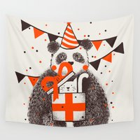 happy birthday Wall Tapestries featuring Happy Birthday by Tobe Fonseca