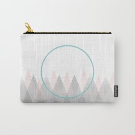 Minimal Abstract Graphic Mountains Circle Blue Pink Gray Carry-All Pouch